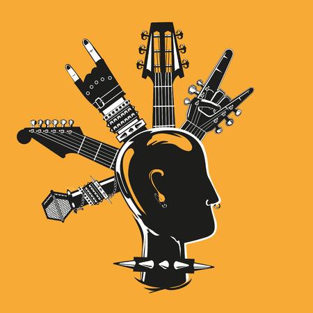 音楽機器とパンクのシルエット  イラスト・ベクター素材