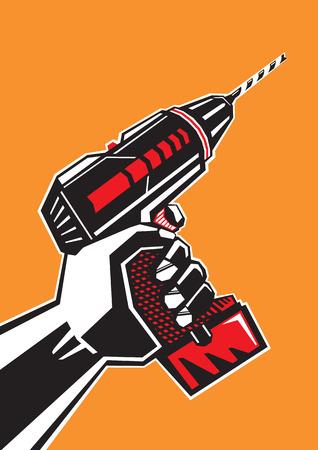 Human holding drill