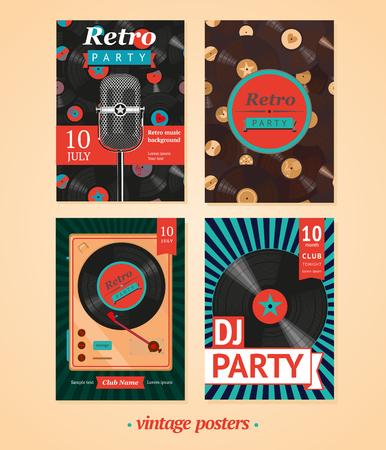 instruments: Vintage backgrounds. Four templates for vintage party Illustration