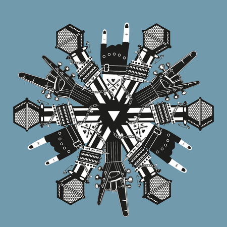rock: Snowflake with rock music elements