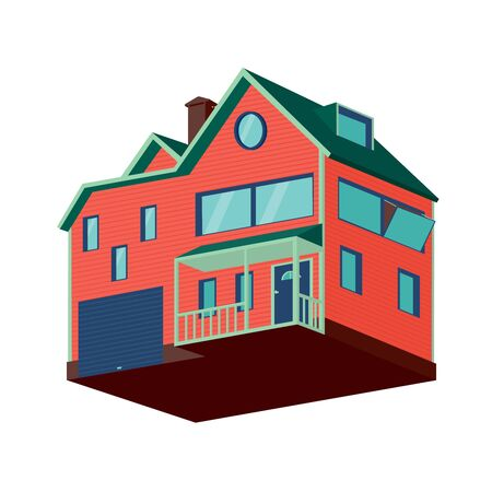 detached: Isometric detached house with garage