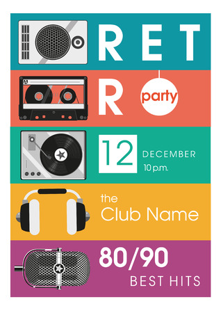 Retro hits. Vintage poster with audio equipment. Illustration