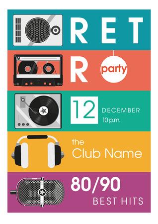 Retro hits. Vintage poster with audio equipment. 矢量图像
