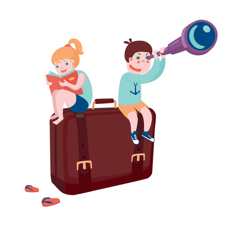 cartoon reading: Boy and girl sitting on suitcase