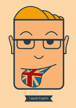 global communication: Mans head with tongue English flag