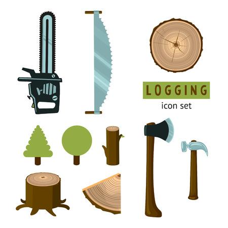 Logging icon set Vettoriali