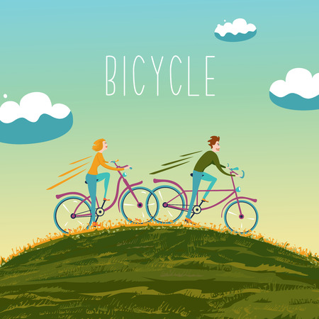 loving: Two people are cycling up the hill