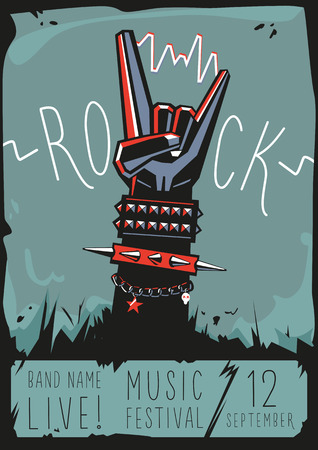Rock poster with a hand Stock fotó - 48856270