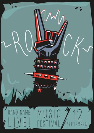 Rots poster met een hand Stock Illustratie