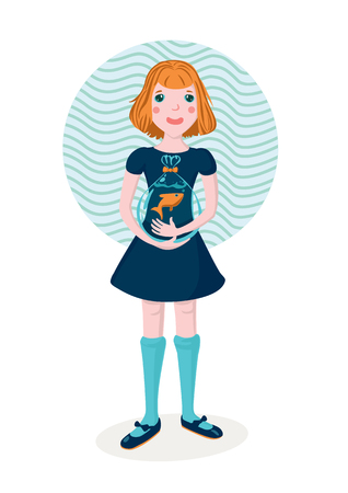 one girl only: Girl holding goldfish Illustration