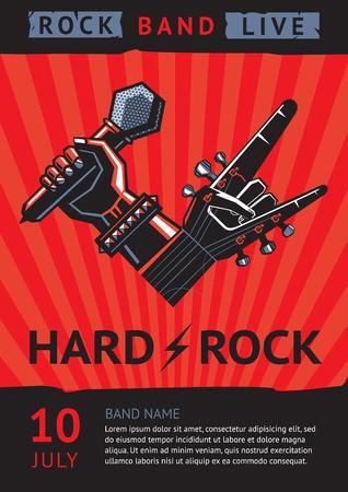 concierto de rock: cartel del concierto de rock Vectores