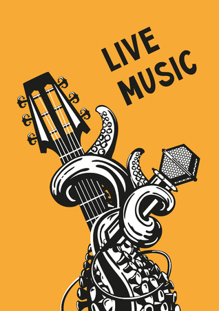 retro music: Live music. Rock poster with a guitar, microphone and tentacles.