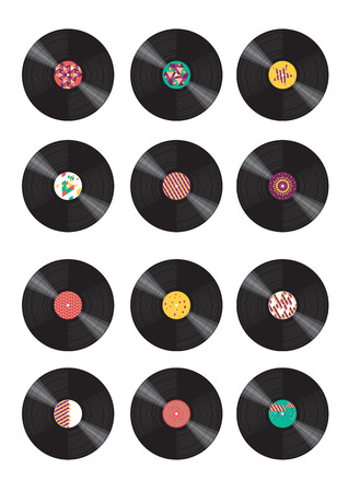 vinyl records: Collection of vinyl records Illustration
