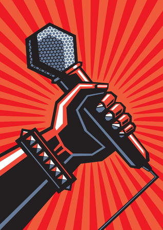 Human hand with microphone Illustration