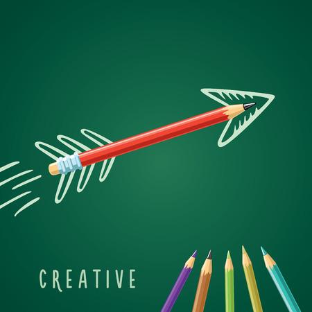 描画の矢印と緑の背景に赤鉛筆  イラスト・ベクター素材