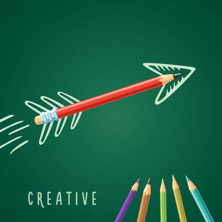 darts flying: Red pencil on a green background with a drawn arrow Illustration