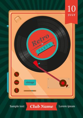 Retro poster met een vinyl-speler. Stock Illustratie