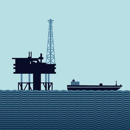 platforms: Sea oil platform with a tanker