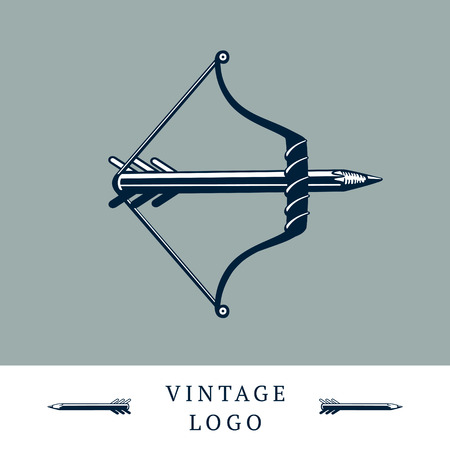 bowstring: Vintage logo with a bow and a pencil without arrow. Message concept.