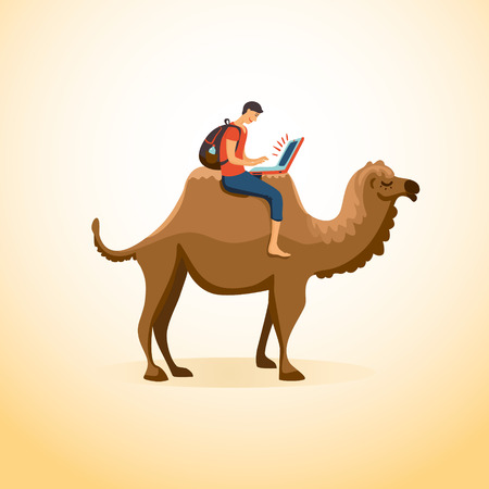 camel in desert: A man travels on a camel with a laptop. Business and travel concept. Illustration