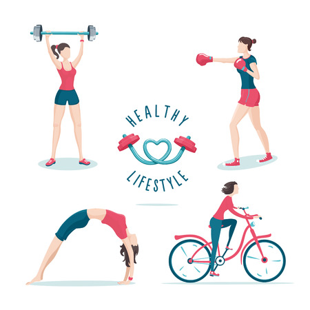 workout gym: Isolated on white girls on a workout. Icon set. Illustration