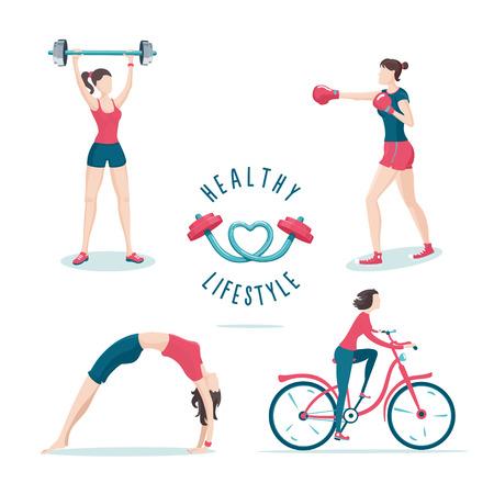 Isolated on white girls on a workout. Icon set. Illustration