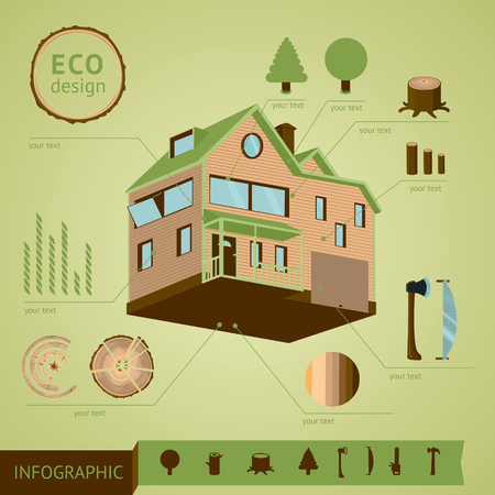 tree cross section: Wooden cottage with construction elements. Info graphic template. Illustration