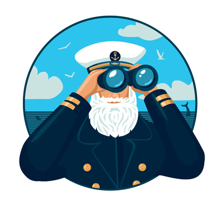Captain looking through binoculars Illustration