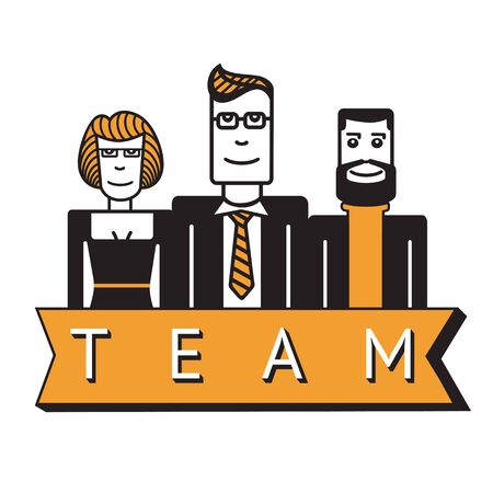 group of workers: Team. A group of office workers. Three smiling people. Flat style Illustration