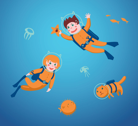 balls deep: Boy and girl are swimming with a scuba diving. Illustration