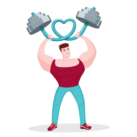 bending: Bodybuilder bending barbell in shape of heart