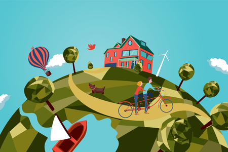 panoramic view: Couple on tandem bike Illustration