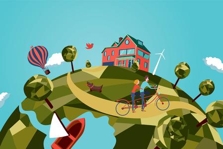 Paar op de tandem fiets