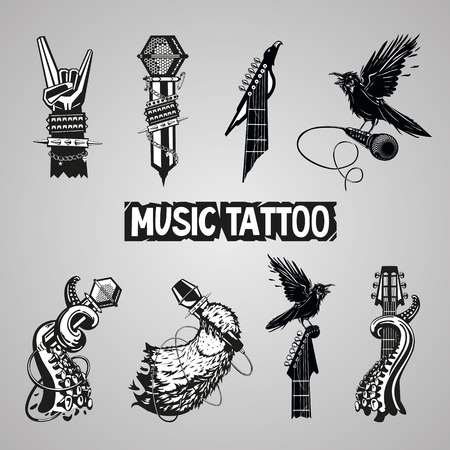音楽タトゥー コレクション。孤立岩の標識です。音楽ファンのために設定します。  イラスト・ベクター素材
