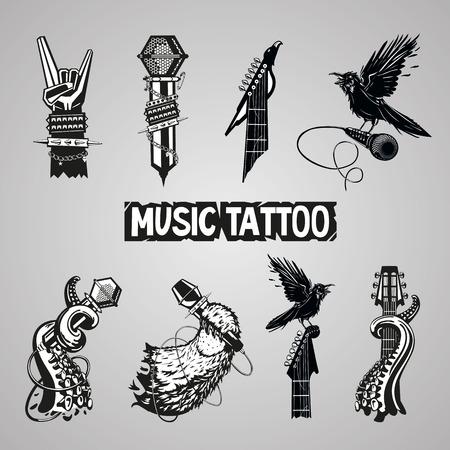 tatouage oiseau: Collection de tatouage de Musique. Signe rocher isol�. Set pour les fans de musique.