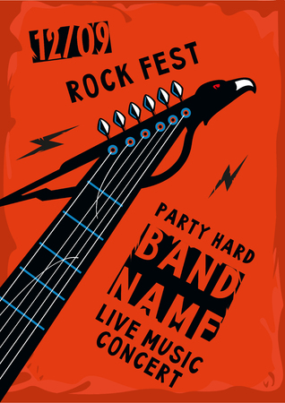 riff: Music poster with a guitar riff in the shape of an eagle. Rock background.