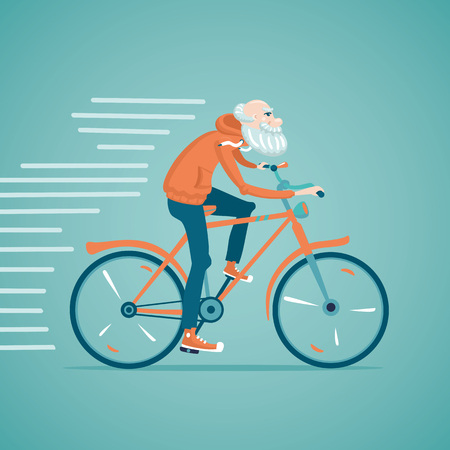 senior exercise: Grandfather is riding bicycle. Isolated cartoon illustration