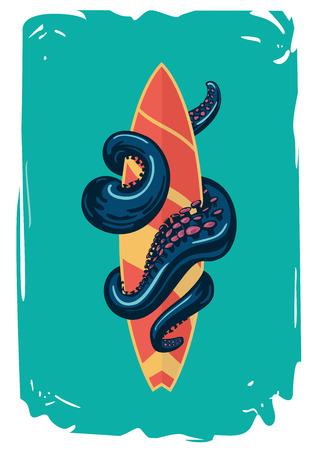 Poster met een surfboard.Octopus tentakels houden een surfplank.