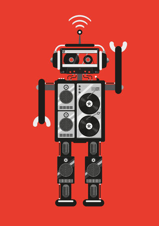 robot cartoon: Party robot. The robot consists of audio equipment. Retro futuristic style. Template for party posters