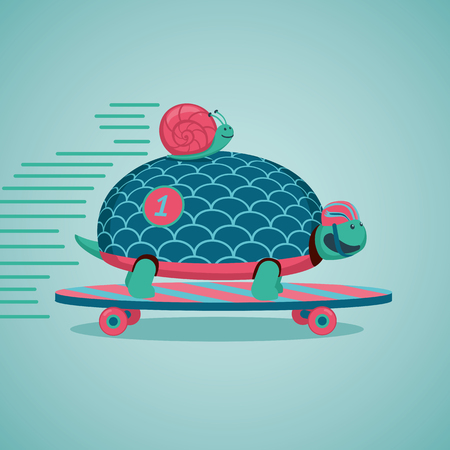 slow: Slow but fast.Turtle and snail are riding on a skateboard.