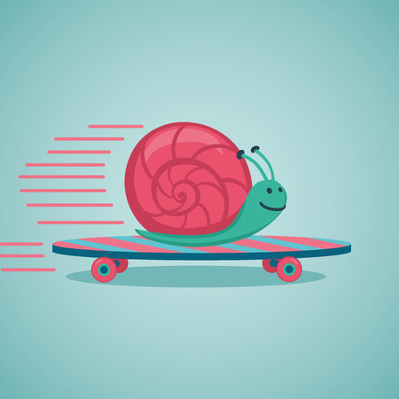 Fast snail. Snail on a skateboard. Vectores