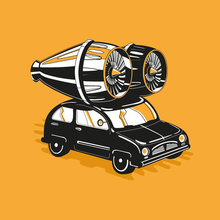car tuning: Vintage car with a big modern turbine. Exclusive car tuning.