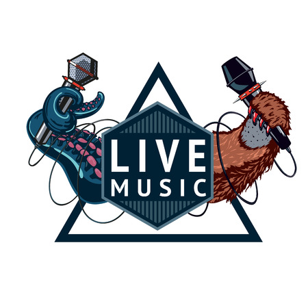 Live music event sign with two microphones. Isolated color emblem.