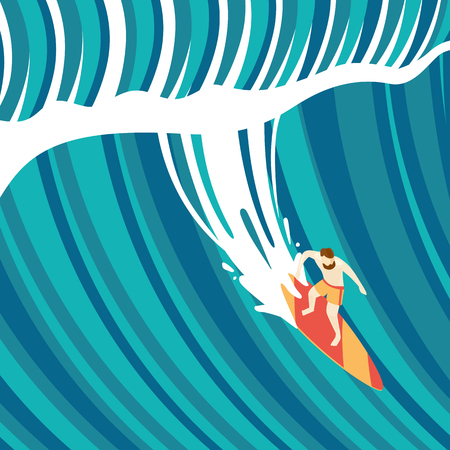 wave: Big wave surfing. Top view of a man on a surfboard. Flat style.