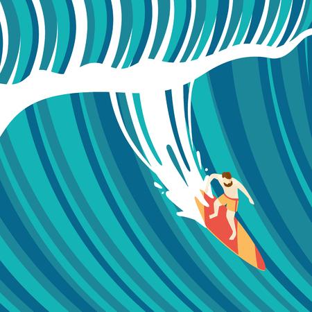 granola: el surf de olas grandes. Vista superior de un hombre en una tabla de surf. estilo plano.