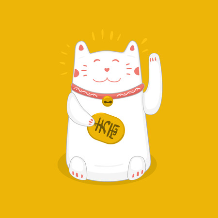 fortune: Traditional Japanese symbol. Lucky cat with a golden coin.