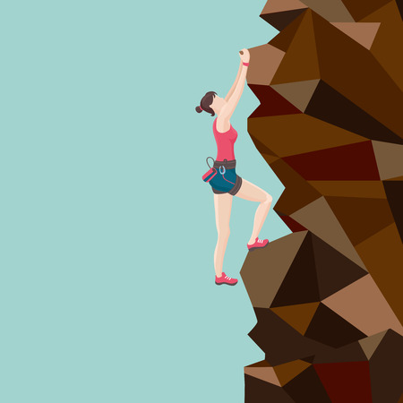 climbing wall: Girl is climbing on a mountain. Illustration
