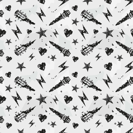 Grunge pattern. Rock music seamless pattern with a guitar and microphone.