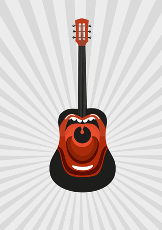Singing guitar. Guitar with painted open mouth. Poster templates