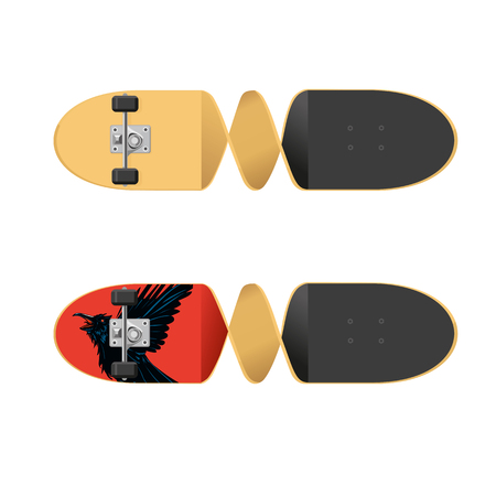Two sides of a skateboard. Isolated vector illustration.